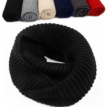 1PC New Fashion Unisex Women's Lady Winter Warm Ring Scarf 2 Circle Cable Knit Cowl Neck Long Scarf Shawl Collar Gift 5 Colors