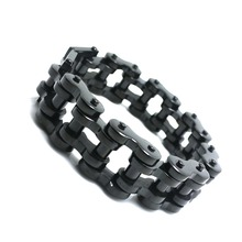Mens Boys Heavy Black & Silver 316L Stainless Steel Cool Motorcycle Biker Chain Bracelet