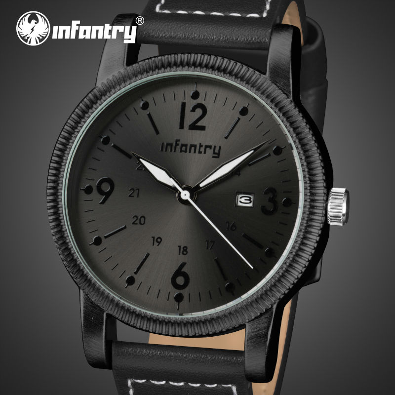 INFANTRY Mens Quartz Wristwatches High Quality PU Leather Watchband Sports Watch Luminous Army Military Sports Watches Relogios<br><br>Aliexpress
