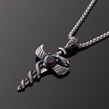 Fashion man jewelry Gothic red heart stainless black steel pendant chain necklace women men Snake cross sword wing dark necklace