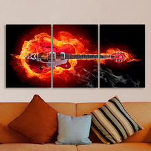 QKART 3 Pieces Wall Art Picture Firing Electric Guitar The Music Home Decor Painting Canvas Art For Living Room No Frame(China)