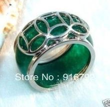free shipping P&P *******Fashion Tibet silver Green stone Ring(China)