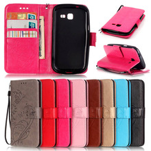 Luxury Wallet PU Leather Cell Phone Case Cover For Samsung Galaxy Trend Lite S7392 S7390 GT-S7392 GT-S7390 with Card Slots Coque