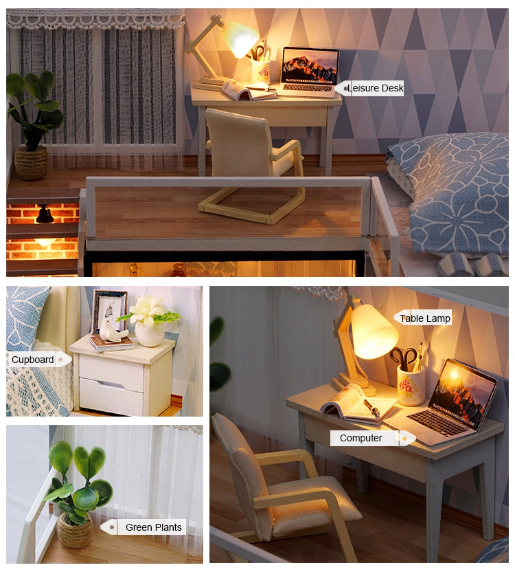 New Arriving DIY Miniature Model Dollhouse Blue Time With Furnitures LED 3D Wooden House Toys Handmade Best Gifts For Children (3)