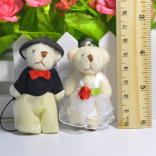 "2.4"" Happy Bag Couple Teddy Bear Wedding Plush Stuffed Toy Doll Lovely Baby Toys Wedding Gift and Decoration"