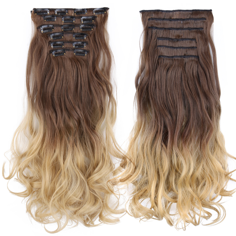 Alileader Synthetic-Hair Hairpiece Extention Clip Blond Brown Natural-Thick Long 1pc title=