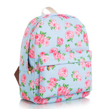 WACSE Small fresh blue roses Korean fashion shoulder bag tide College sail cloth bags schoolbags