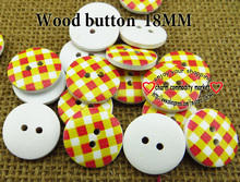 red yeloow stripes wholesale (60pcs/lot) wooden buttons for baby hat 18MM MCB-745-1(China)