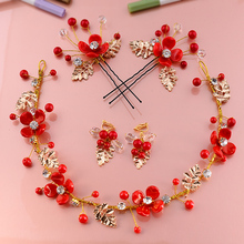 Bride 's Headdress Red Hairband Set Handmade Marriage Hair Ornament Chinese Hairbands+Hairpin+Earrings Total 5 Pieces