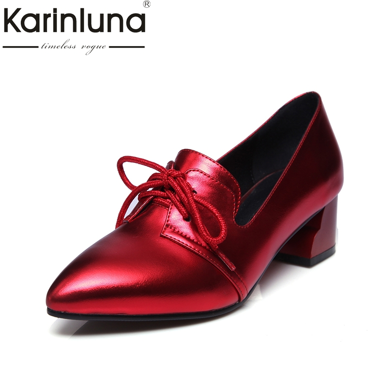 KarinLuna 2018 fashion pointed toe lace up women shoes woman square mid heels black red Party wedding Pump size 34-39<br>