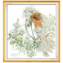 White Horse and Girl Patterns Counted Cross Stitch 11CT Printed 14CT Cross Stitch Kits for Embroidery Needlework Home Decor(China)