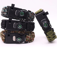 5 in 1 Multifunction Compass Survival Bracelet For Men New Outdoor Parachute Rope Scraper Whistle Flint Travel Emergency Kit