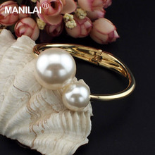 New Design Romantic Two Imitation Pearls Bracelets Accessories Clothes Cuff Bangles For Women Fashion Charm Jewelry B267