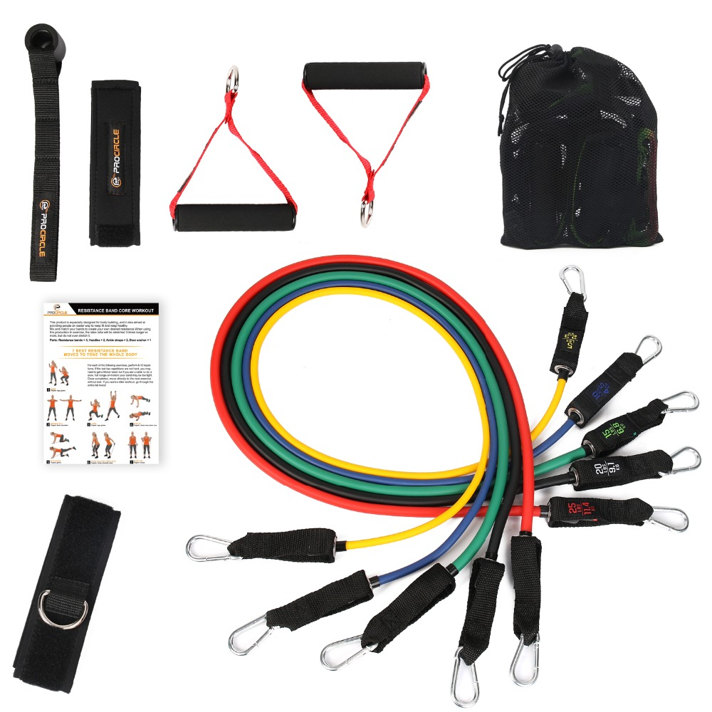 Procircle Resistance Bands set - 11Pcs Expander Tubes Rubber Band For Resistance Training, Physical Therapy, Home Gyms Workout<br>