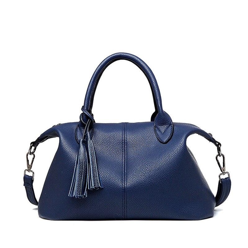 Genuine Leather Trapeze Women Shoulder Bag Soft Tassel Ladies Hand Bags Crossbody Bag  Fashion Bags Handbag Famous Brands <br>