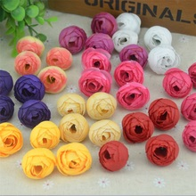 30pcs2.5cm Small Silk  Rose Bud Artificial Flower Head For Wedding Home Decoration DIY Wreath Gift Scrapbooking Fake Flowers