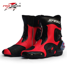 Pro motorcycle shoes casual automobile race middle boots off-road boots automobile race motorcycle leather shoes boots a004(China)