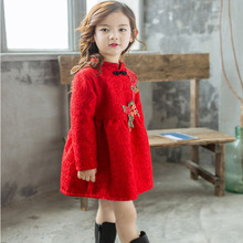 Chinese Red Flower Lace Cheongsam Girls Dresses Fleece Thick Long-sleeved Princess Dress Girl Cute Children