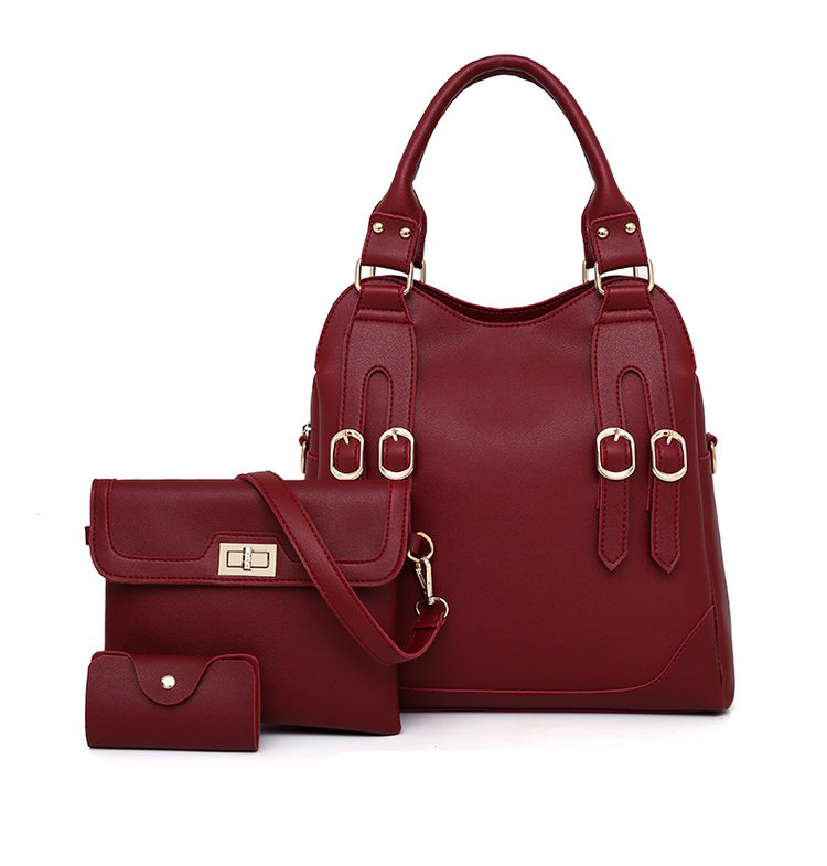 Women Bag PU Leather Female 3 Sets Handbags Women Ladies Shoulder Bags Composite Casual Tote Solid Bag for Women DropShipping 35