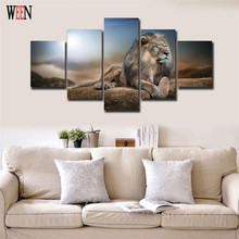 Lion Canvas Painting HD Printed Animals Group Home Decor Wall Pictures For Living Room 5 Pcs Modular Pictures Cuadros Decoracion(China)