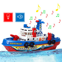 Fire Toy Boat Model Electric for a Children Music Lamp Warship Battleship Swim Boy Holiday Christmas Toy