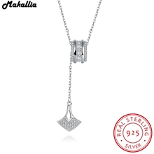 New Fashion 925 Sterling Silver ferry crystal Pendant Necklace for Women Engagement Fine Jewelry free shipping(China)