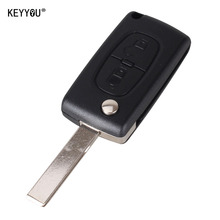 KEYYOU 2 Buttons Flip Key Case Shell For Peugeot 107 207 307 307S 308 407 607 2BT DKT0269 With Groove With Battery Place CE0536