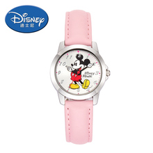 Genuine Disney Kids Watch Children Watch Mickey Mouse Casual Fashion Cute Quartz Wristwatches Girls Leather clock women watche()