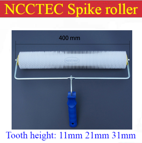 16 400mm NCCTEC spiked roller PS1611,PS1621,PS1631 for removing bubbles of epoxy self-flowing floor | teeth :11mm 21mm 31mm<br>