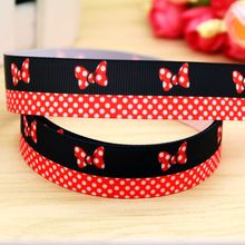 7/8'' Free shipping minnie printed grosgrain ribbon headwear hair bow diy party decoration wholesale OEM 22mm B1392(China)