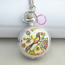 wholesale nice silver flower beautiful bird pocket watch necklace chain for wholesale buyer price good quality new antibrittle(China)