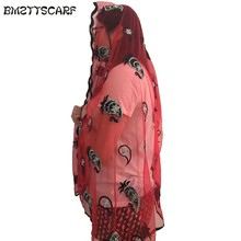 New african scarfs,muslim embroidery net scarf ,tulle material soft scraf for shawls BM428(China)