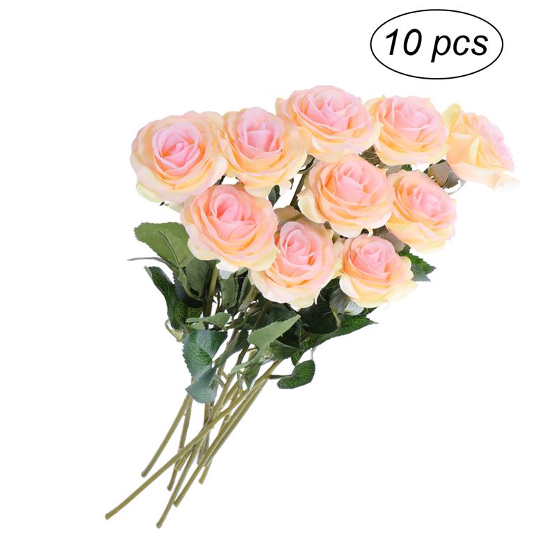 10X Heads Artificial Silk Rose Flowers Fake Bouquet Home Wedding Party Decor US