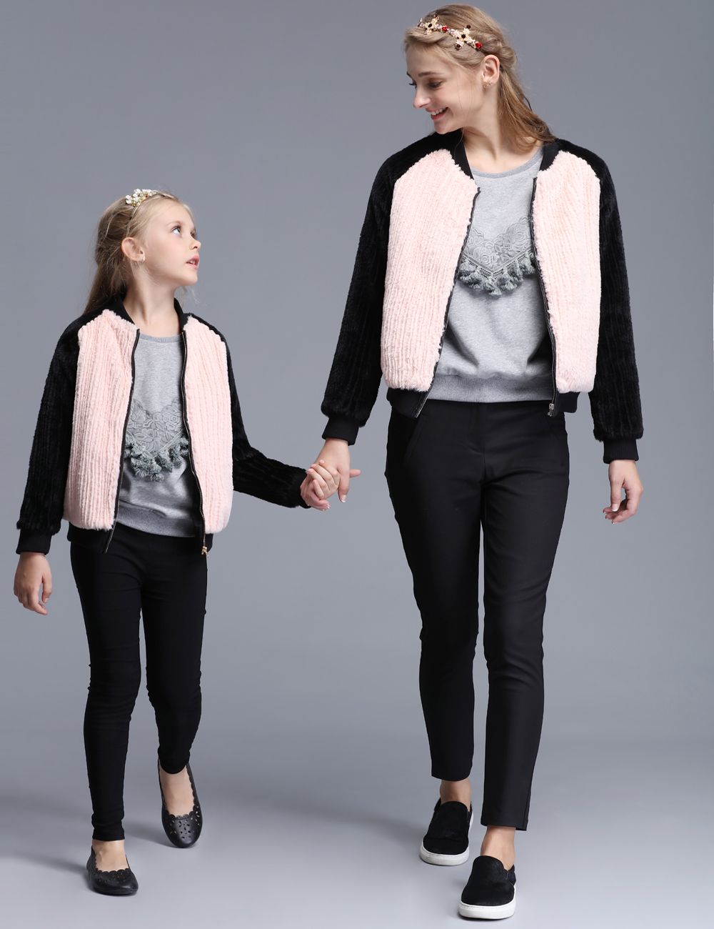 Winter New Brand Fur Long-sleeved Mother Daughter Coats Mom and Girls Thickening Fashion Family Matching Clothes Girls Jacket<br><br>Aliexpress