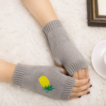 2017 Autumn Winter Women Warmth Knitted Pineapple embroidery Arm Fingerless Gloves Mittens Women Hand Arm Warm Female Gloves(China)
