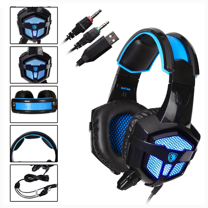 Original Sades SA-738 3.5mm Gaming Headset Wired Stereo Lightweight Over Ear Gaming Headphones with LED Light Earphone Earbus<br>