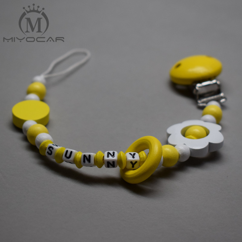 MIYOCAR personalized name lovely yellow wooden beads dummy clip holder pacifier clips holder/Teethers clip baby