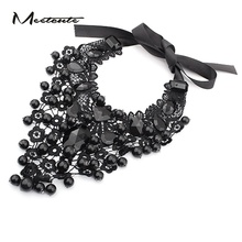 Meetcute Women New Cool Gothic Style Lace Crystal Beads Collar Choker Necklace Charm Silver Rope Short Fashion Bijoux Femme(China)