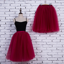 2017 New Voile Knee-length Solid Organza Bow Fashion Wedding Skirt Spring Fluffy Tulle Women's Ball Gown Skirts For Party
