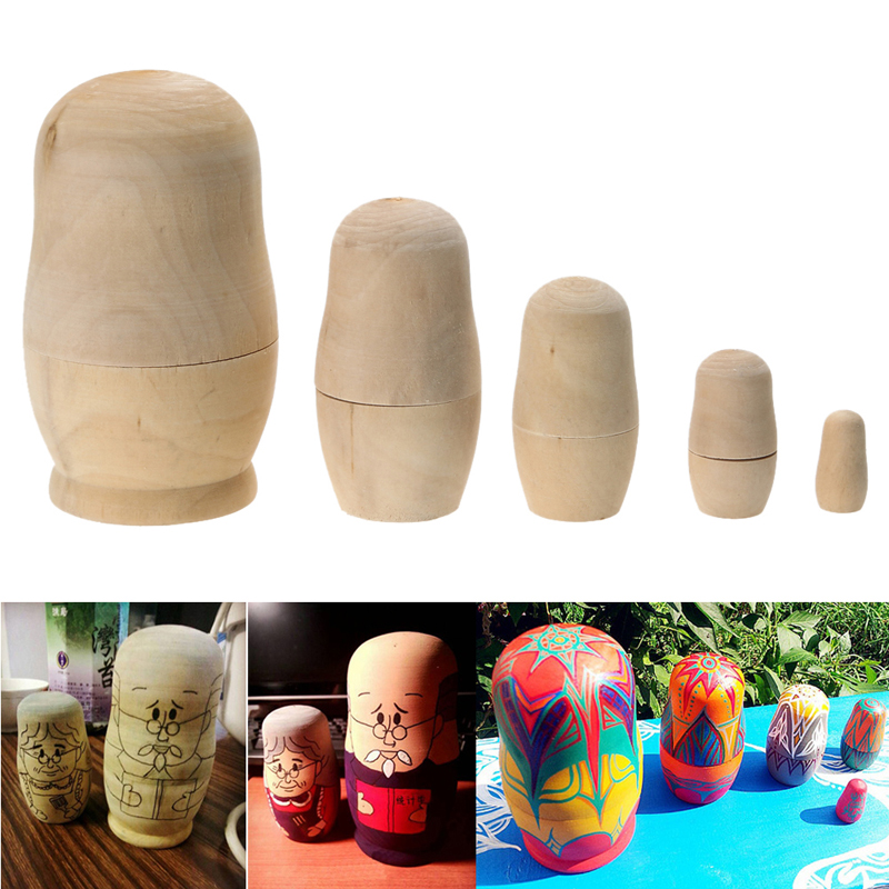 5pcs Unpainted DIY Blank Wooden Embryos Russian Nesting Dolls Matryoshka Toy <br><br>Aliexpress