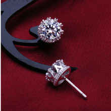 Flyleaf 925 Sterling Silver Cubic Zirconia Crown Stud Earrings For Women Fashion Lady Sterling-silver-jewelry(China)