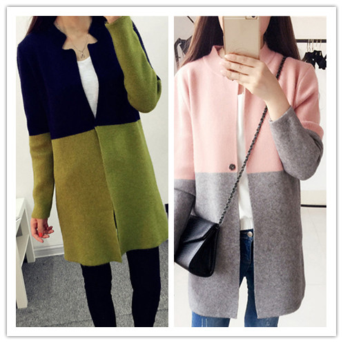 Women Crochet Knit Slim Sweater Cardigan Autumn Winter Long Sleeve Coat Women Fashion Tops Jacket Sweater 2 Clour