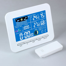 Wireless Electronic Digital Temperature Humidity Meter LCD Weather Station Wireless Thermometer Humidity Metal Date Alarm Clock
