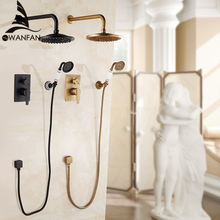 Bathtub Faucets Antique Bath Rain Shower Wall Concealed Bathroom Faucets Shower Set Faucet Mixer Black Mixer Set Crane FS-13889(China)