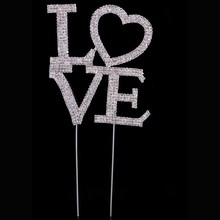"2016New 1Pcs Large Rhinestone Crystal Letter ""LOVE"" Cake Topper For Wedding Party Decoration CT14"