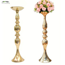 Gold Metal Candle Holders 50cm/20'' Stand Flowers Vase Candlestick As Road Lead Candelabra Centre Pieces Wedding Decoration 005(China)