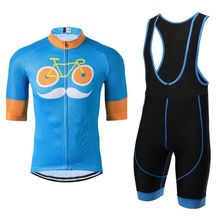 Moustache Pro Team Men Cycling Clothing Maillot Cycling Jersey Sets Ropa Ciclismo Bike Sports Gel Pad Bib Shorts Kit Blue(China)