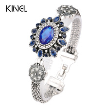 Turkey Jewelry Wholesale Latest Design Bohemian Retro Silver Resin Crystal Bracelet Bracelet For Women(China)