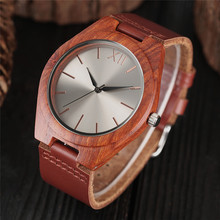 Creative Bamboo Watch Luxury Bangle Red Wood Genuine Leather Band Fashion Dial Men's Wrist Watches Casual Women Clock Best Gift(China)