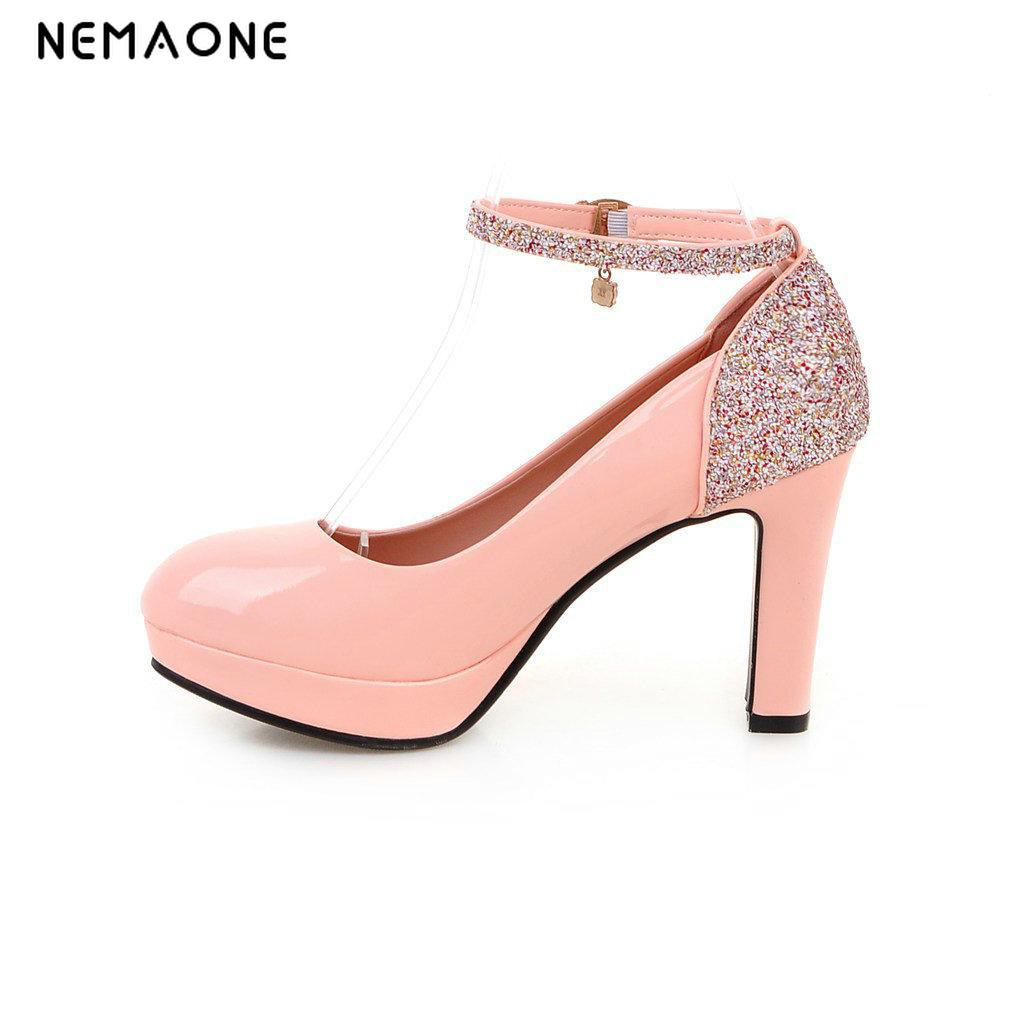NEMAONE 2017 Plus Size Fashion Ankle Strap Mary Jane Shoes Square Toe Buckle Strap bling High Heel Pumps women shoes<br>